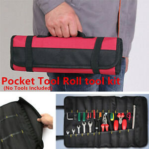 Auto SUV Red Tool Bag Roll Plier Screwdriver Spanner Case Pouch Reels Car Parts