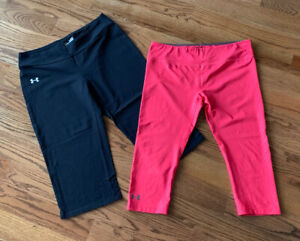 Under Armour Athletic Running Cropped Leggings Pants Women's Size L (Lot of 2)