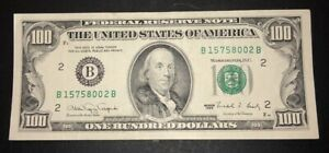 1990 (B) $100 Crisp One Hundred Dollar Bill Federal Reserve Note New York Old