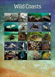 GB 2021 WILD COASTS BIRDS WHALES  FISH DOLPHINS SHELLS COLLECTORS SHEET MNH