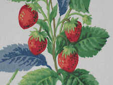 "SANDERSON CURTAIN FABRIC ""Summer Strawberries"" 3.3 METRES STRAWBERRY/LEAF"