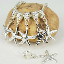New 10PCS Silver Plated Dangle Starfish Charms Loose Beads Fit European Bracelet