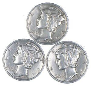 Lot of 3 AU/Unc 1944-S, 1943, 1940-D Mercury Dimes 90% Silver Collection *363