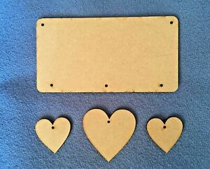 Mdf hanging star, diamond and heart door plaques, signs craft blanks
