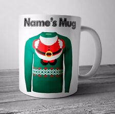 Personalised Mug Cup - Santa Jumper - Christmas Gift / Secret Santa  - Any NAME