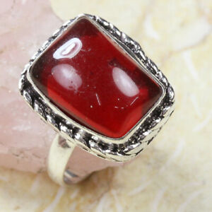 Red Onyx 925 Silver Plated Handmade Gemstone Ring of US Size 7 Ethnic Gift