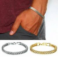 Mens Punk Stainless Steel Silver Chain Link Bracelet Wristband Cuff Bangle GiftS