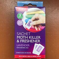 Pack of 20 Acana MOTH KILLER & FRESHENERS Sachets with Lavender Fragrance