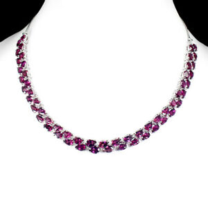Pear 7x5 Mm Neon Purple Rhodolite Garnet 925 Silver Necklace 20 Ins Spicial Item