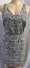 """ANN TAYLOR LOFT"" BLACK & OFF-WHITE FLORAL CASUAL CAREER SUN DRESS SIZE: 16 NWT"