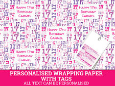 Personalised Happy 17th Birthday Wrapping paper. Pink Gift Wrap with a number 17
