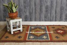 Indian Traditional Weaver Tribal Wool Jute Kilim Rug Multi Color Door MAT Carpet