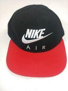 Vintage 90s NIKE Air Swoosh Red Black SnapBack Hat Cap Small