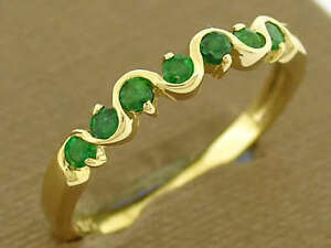 s R108 - Genuine SOLID 9ct Gold Natural Emerald Wedding, Eternity Ring size 7