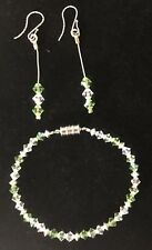 Green & Clear Crystal Bracelet & Earrings Set made with Swarovski Crystals