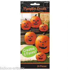24 Piece Haunted Halloween Pumpkin Smile Face Stickers Decals Decoration Set