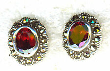 "925 Sterling Silver Garnet & Marcasite Oval Stud Earrings 1/2"" x 3/8"""