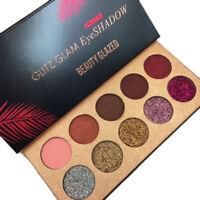 10 Colors Eyeshadow Palette Matte Shimmer Glitter Eye Shadow Blush Makeup
