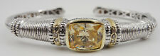 Judith Ripka Sterling 18K Gold Canary Crystal Diamond Accent Hinged Bracelet