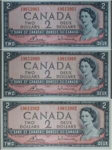$2 1954 Bank of Canada Set of 3 Crisp Unc Consecutive Serial Numbers No Reserve