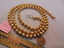 "Christmas Garland Mercury Glass Antique Gold 33"" Long 5/16"" Beads #Pl72 Vintage"