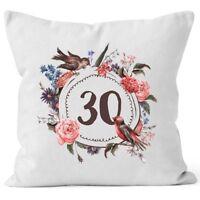 Kissen-Bezug Geburtstag   Geschenk-Kissen Blumen Blüten Blumenkranz Bordüre