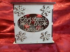 MDF Wooden Customised Christmas LED light box. Craft wall door hanging art