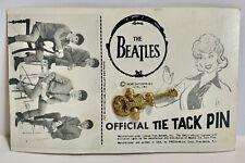 "VINTAGE 1964 NEMS BEATLES GUITAR TIE TACK PIN ON WALLET PHOTO CARD ""JOHN LENNON"""