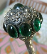 Lovely Vintage Emerald Jewel Handled Parasol Double Silk Fabric Floral Interior