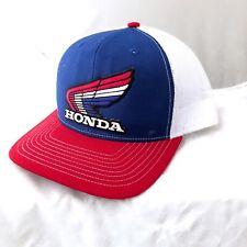 2e8b3e97adc Honda Red White Blue Wing Mesh Trucker Hat Snapback Baseball Motorcycle