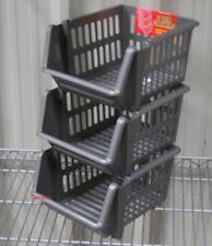 VEGETABLE FRUIT STORAGE KITCHEN STACKING STACKABLE BASKET RACK - 3 Tiers Grey