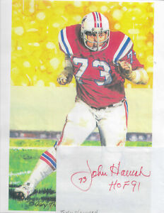 JOHN HANNAH...HAND SIGNED AUTOGRAPH WITH NFL HALL OF FAME IMAGE....