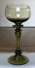 Antique German Roemer? Handblown Olive Green Wine Glass