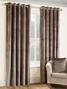 Belfield Furnishings Opulence Fully Lined Crushed Velvet Eyelet Curtains-Praline