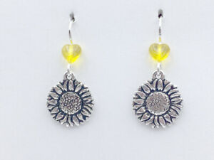 Pewter & Sterling Silver sunflower dangle earrings- sunflowers, gardener,yellow