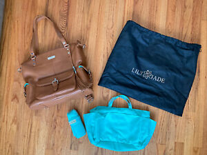 Lily-jade Meggan Camel And Silver Real Leather Diaper Bag