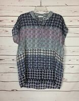 Cabi Women's L Large Aster Gray Navy Print Button Short Sleeve Tunic Top Blouse