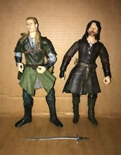 """2 Lord Of The Rings - Deluxe Poseable Figures 11"""" - ARAGORN + LEGOLAS"""