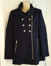5bf3b2d9057 Kenneth Cole Womens Coat Size 6 Pea Style Wool Blend Blue Double Breasted  LOOK