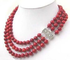 3 Rows 8 mm Red Coral Color Shell Pearl Beads Flower Clasp Necklace JN1724