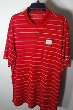Nike Golf Dri-Fit Mens Polyester Athletic Red Striped Polo Shirt Short Sleeve XL