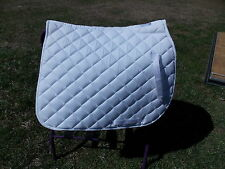 UNION HILL ALL PURPOSE ENGLISH SADDLE PAD HORSE WHITE WHITE PIPING