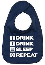 "DF ""Drink, Drink, Sleep, Repeat"" Funny Baby Feeding BIB Boy Girl Newborn Gift"