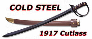 Cold Steel NEVER UNARMED 1917 Cutlass Sword With Leather Scabbard 88CS *NEW*