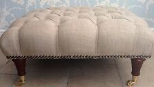 A Quality Large Deep Buttoned Footstool Laura Ashley Dalton Natural Fabric
