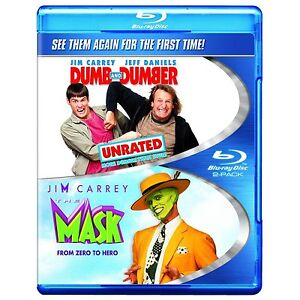 THE MASK / DUMB AND DUMBER  BLU RAY  2 DISCS JIM CARREY DOUBLE COMEDY REG FREE