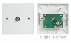 Single Satellite F Connector Wall Plate Cable Outlet with PCB Box Screw Fitting