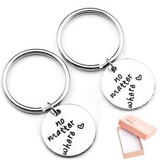 Top Plaza 2pcs/Set No Matter Where keychain Best Friends Husband and Wife
