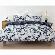 NEW Leaf Flower Quilt Doona Cover Pillowcase Set FLORAL White Navy Blue QUEEN