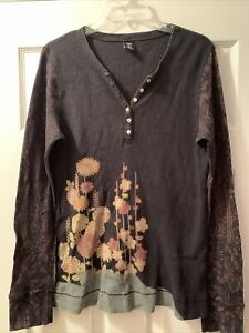 Lucky Brand Womens Black Multi Henley Floral Thermal Long Sleeve XL Shirt Cotton